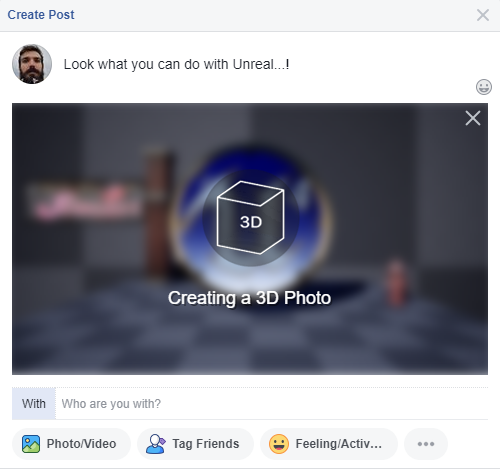 Create 3D screenshots for facebook in Unreal Engine